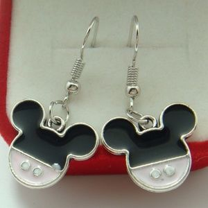 925 Silver Plate French Hook Minnie Mouse Earrings